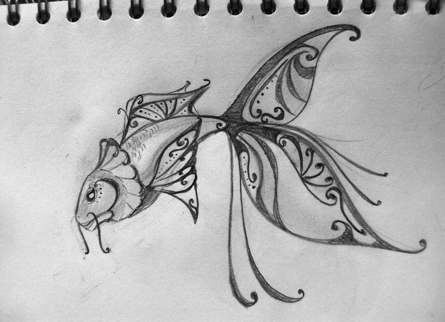 It is a photo of Fan Pretty Fish Drawing