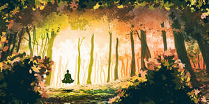 Speed painting 1h - Meditation en foret by Madcarak