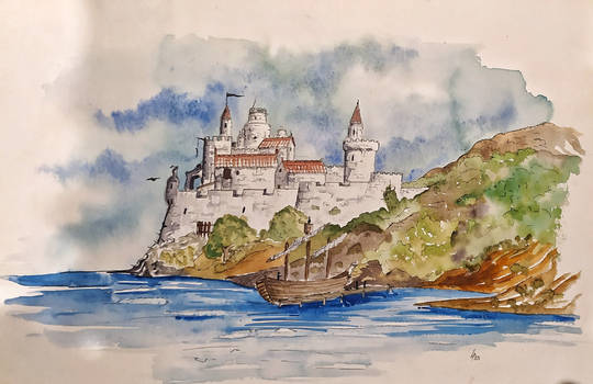 053 - Old drawings - Fort on a sea