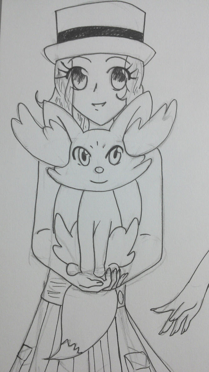 Serena and Fennekin {Unfinished - Black and White} by TantyoNishikigoi