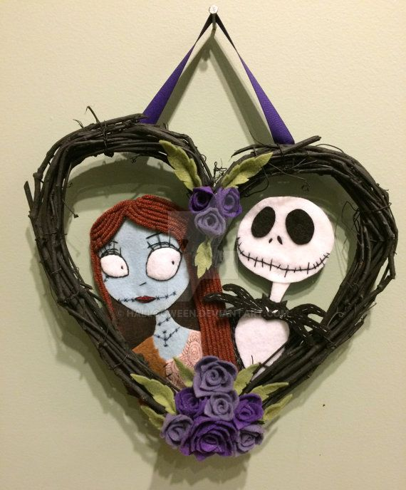 Sally And Jack Nightmare Before Christmas Wreath By Halloqween On