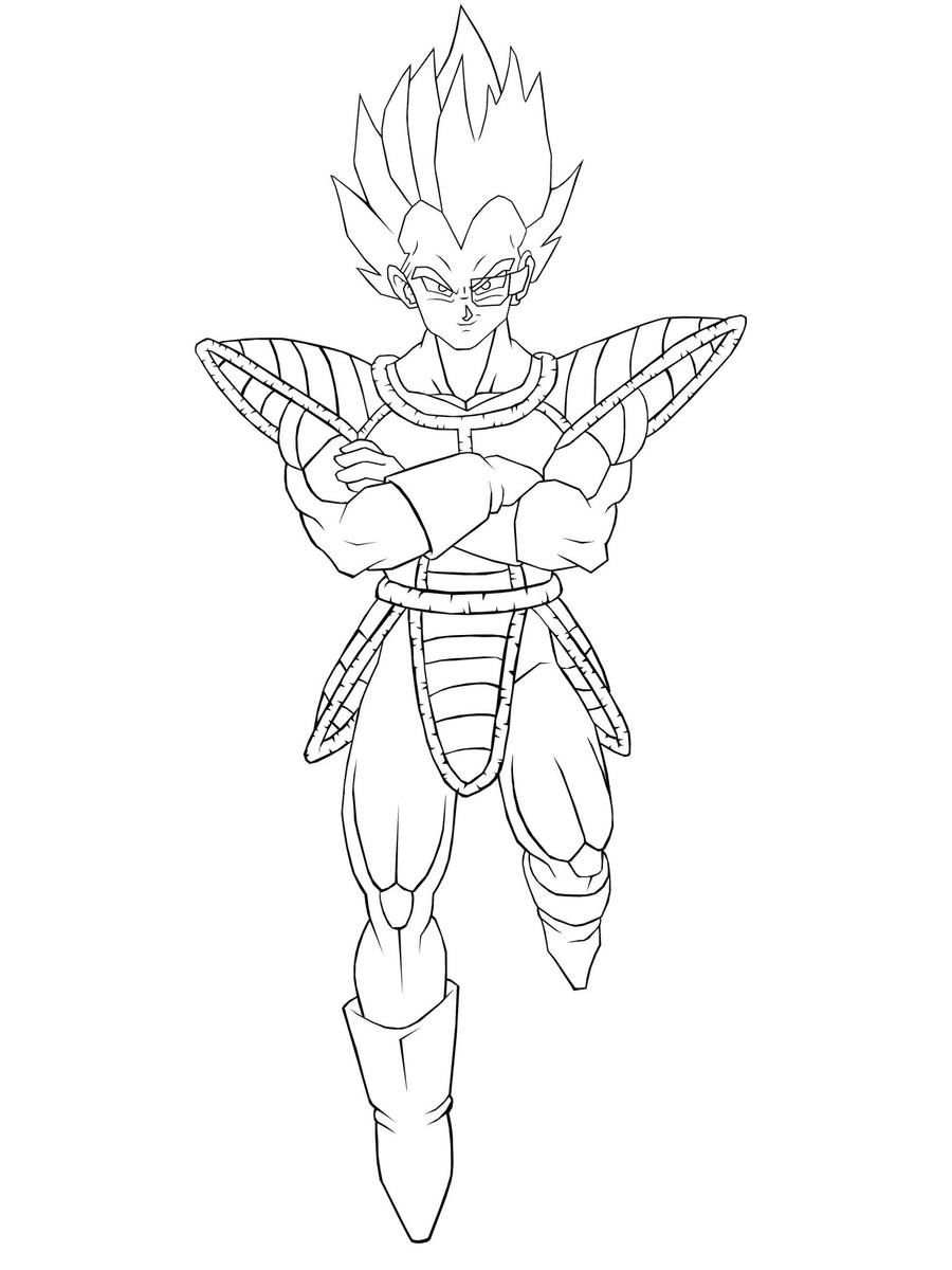 Vegeta lineart by tonesko on deviantart for Goku and vegeta coloring pages