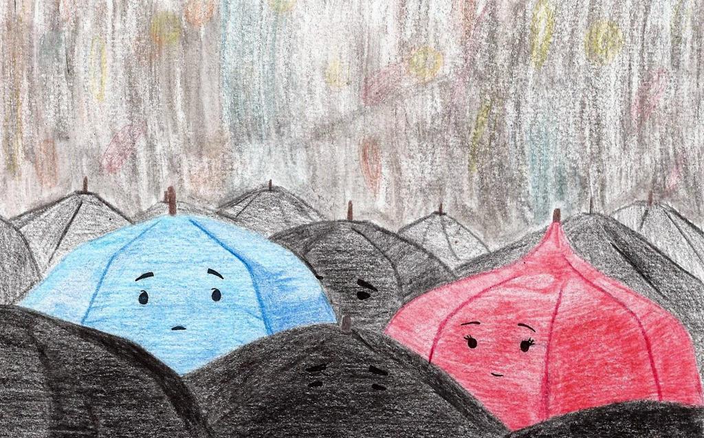 The Blue Umbrella By A Marcenaro