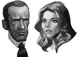 Oscar Goldman and Jamie Sommers sketch by AldgerRelpa