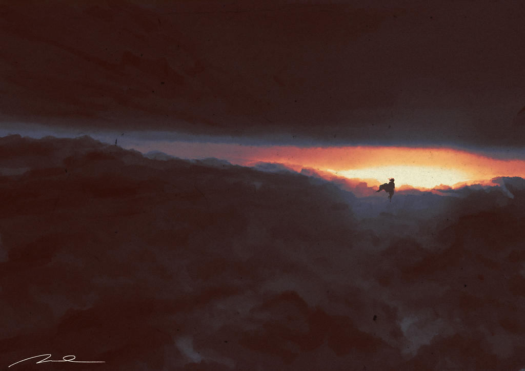 Super Komrad Girl walking on clouds by AldgerRelpa