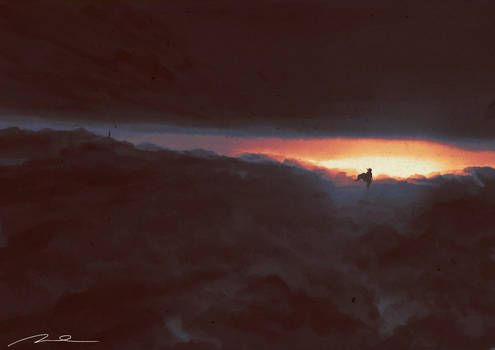 Super Komrad Girl walking on clouds