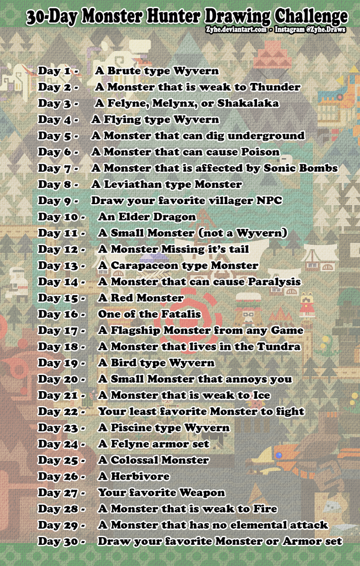 30-Day Monster Hunter Drawing Challenege by Zyhe