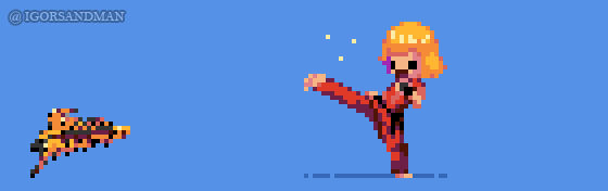 356/365 pixel art : Young Ken from Street Fighter