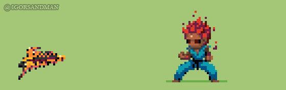 357/365 pixel art: Young Akuma from Street Fighter