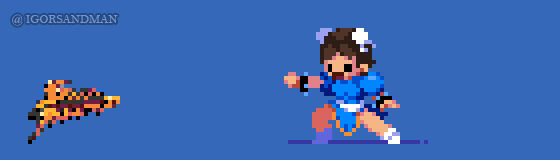 361/365 pixel art : Young Chun Li - Street Fighter