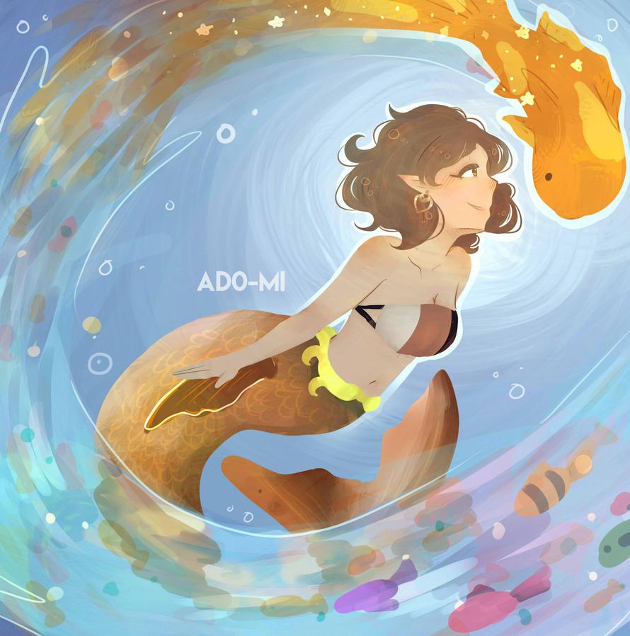Swimming with the Koi by ado-mi