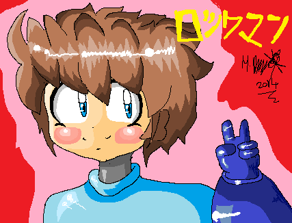 Mega man , ms paint quicky by Mika-Bailey