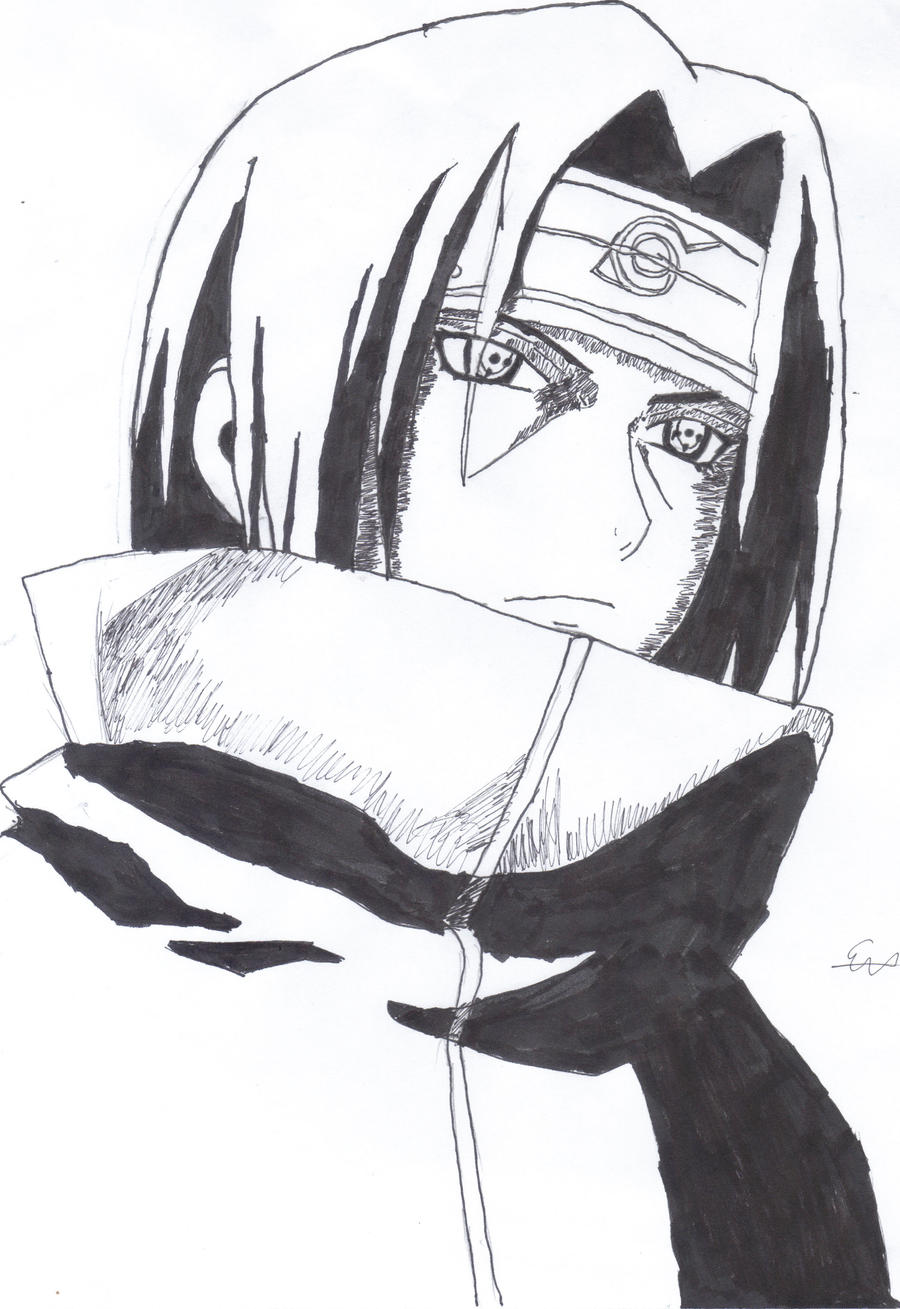 how to draw itachi uchiha face step by step
