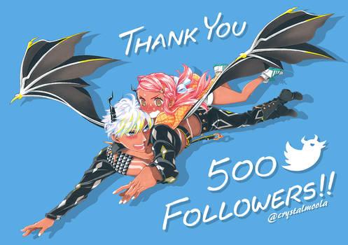 500 Twitter Followers!!