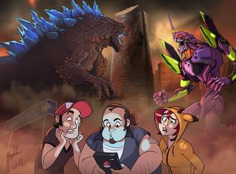 Godzilla vs Evangelion by Magolobo