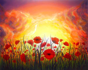 Sunset Poppies - painting