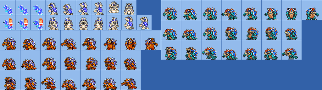 Blue Bowser SMM Sprites (Read before you comment) by KoopshiKingGeoshi