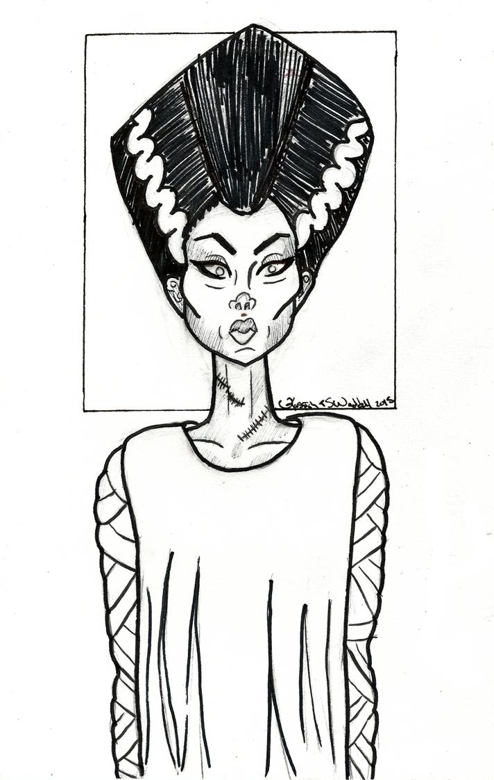 Inktober series 2015: Bride of Frankenstine by Ryvienna