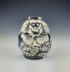 Sgraffito Rose Jar by Ryvienna