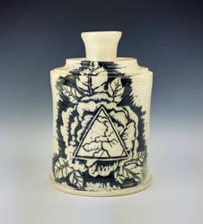 Geometric Peony Jar