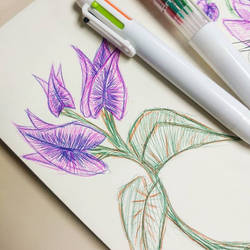 Paper Flowers and ballpoint pens