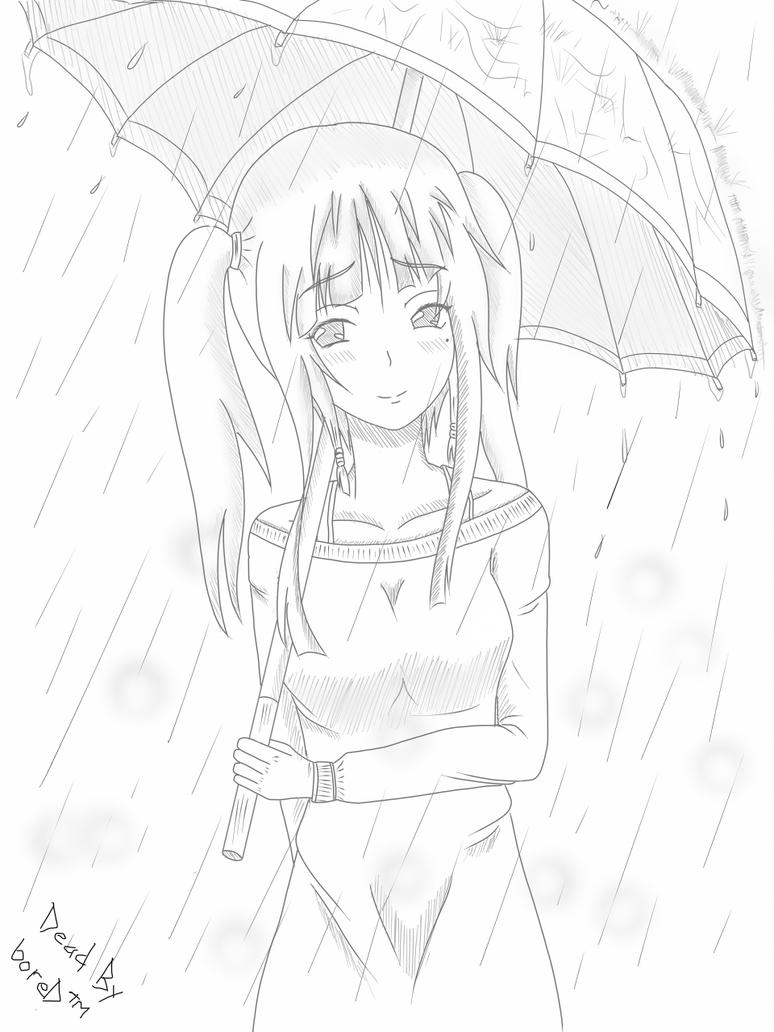 how to draw a rainy season