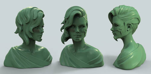 Tribute to Danny Luvisi and LMS - Green Clay Bust by HazardousArts