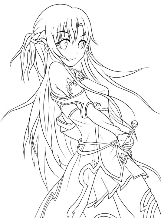 anime girl with swords coloring pages | Yuuki Asuna Lineart. by juvjuv on DeviantArt
