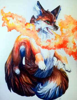 Fox-Dragon in Watercolours