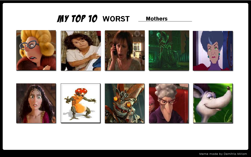 The Top 10 Worst Mothers by KessieLou