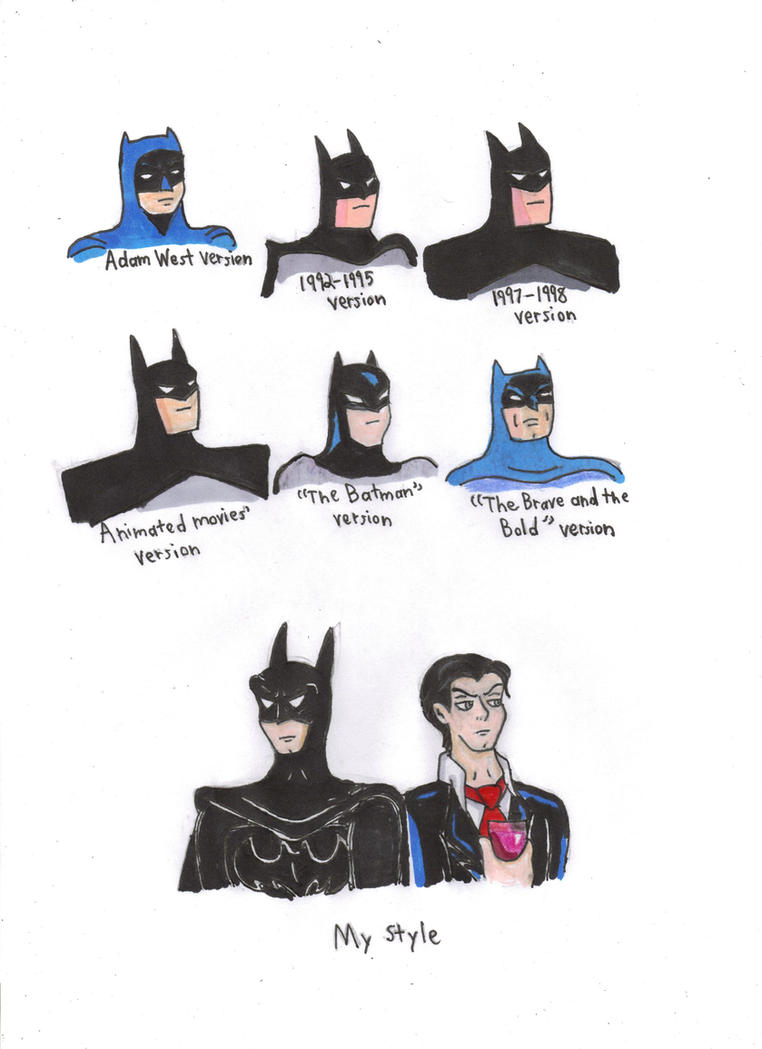 Different Styles of Batman by KessieLou