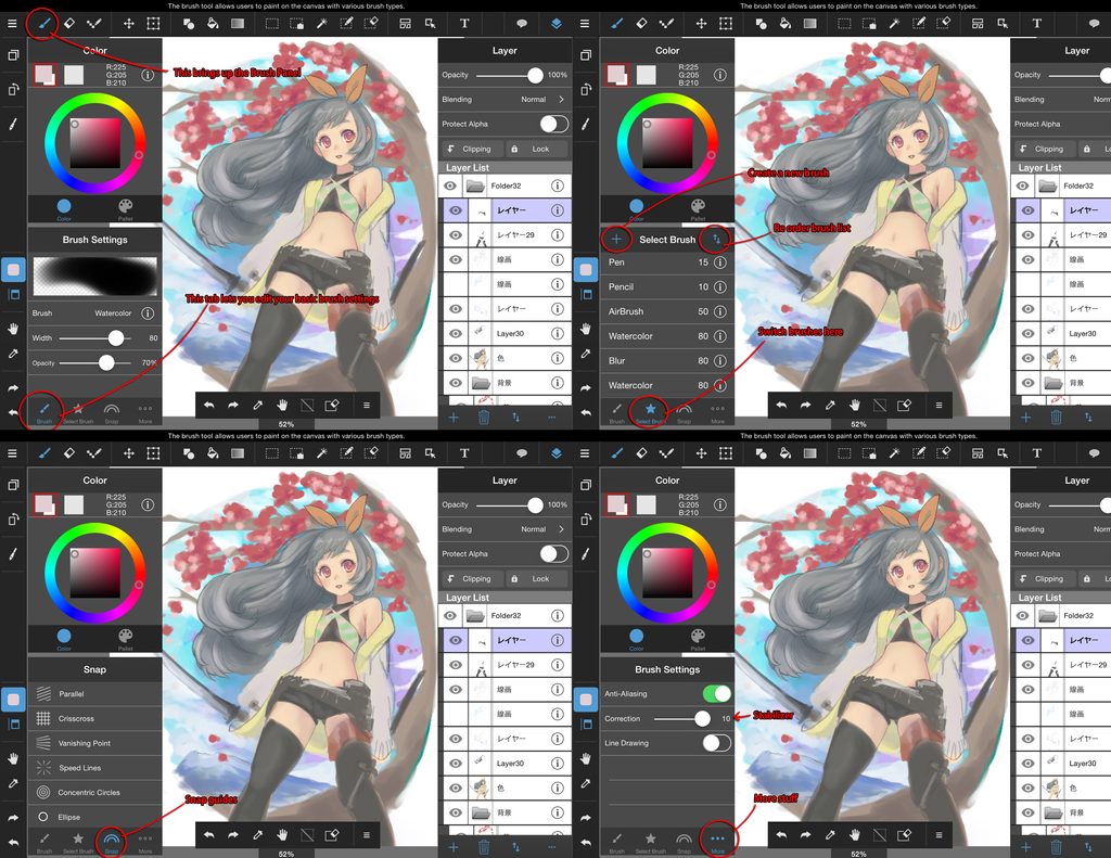 medibang paint tablet ipad brush panel guide by