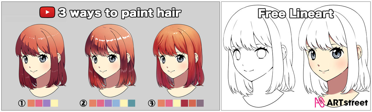 How to Paint Hair in 3 ways + free to use lineart