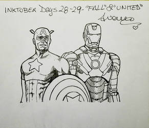 Inktober2017 Day #28 and #29 - 'Fall' and 'United'