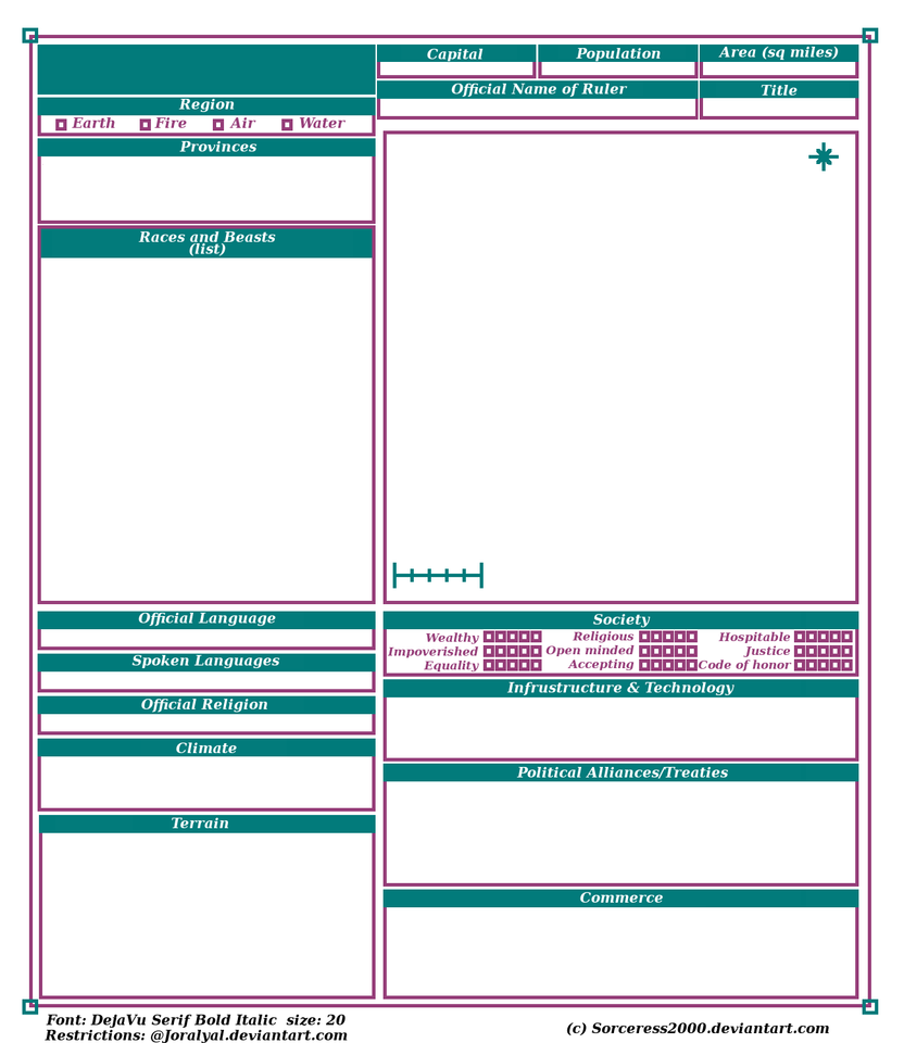 Joralyal Country Profile Sheet Template by SerenEvy on DeviantArt – Profile Sheet Template
