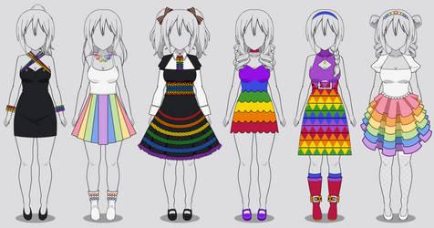 Six Rainbow Dresses in Kisekae 2 (codes included)
