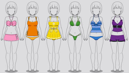 Kisekae Swimsuits: Ribbons/Bows (Codes included)