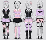 Kisekae: Four Pastel Goth Outfits (w/ codes)