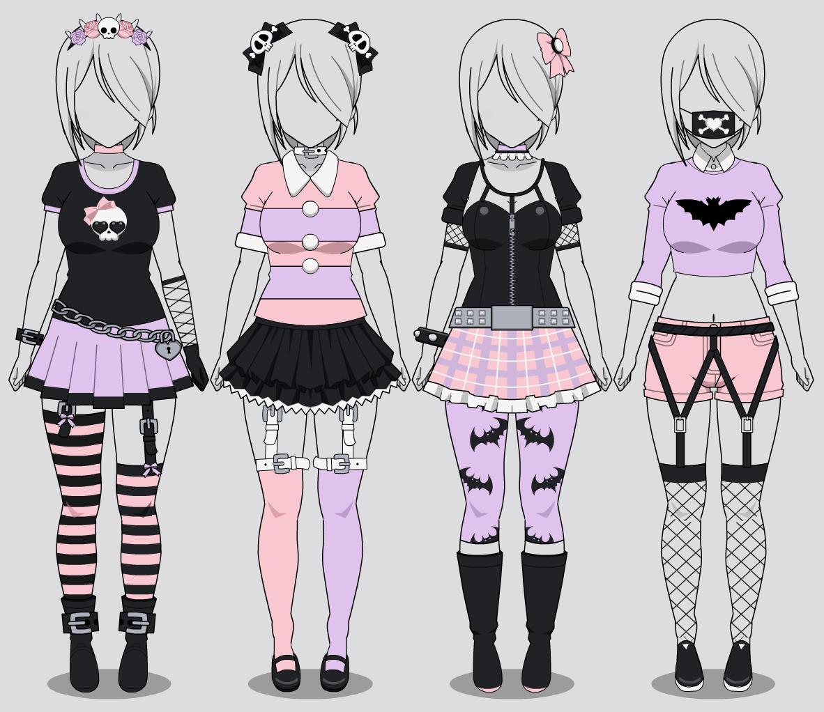 Kisekae: Four Pastel Goth Outfits (w/ codes) by RainbowFan256