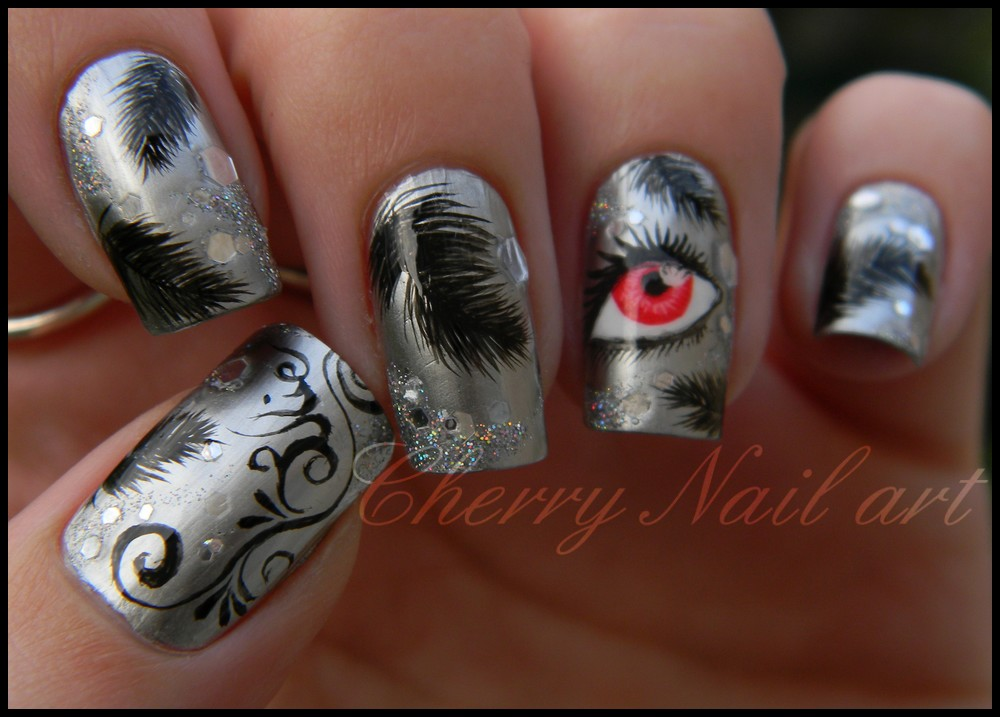 Nail art black swan by cherrynailart on DeviantArt