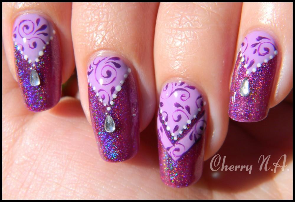 Nail art baroque oriental by cherrynailart