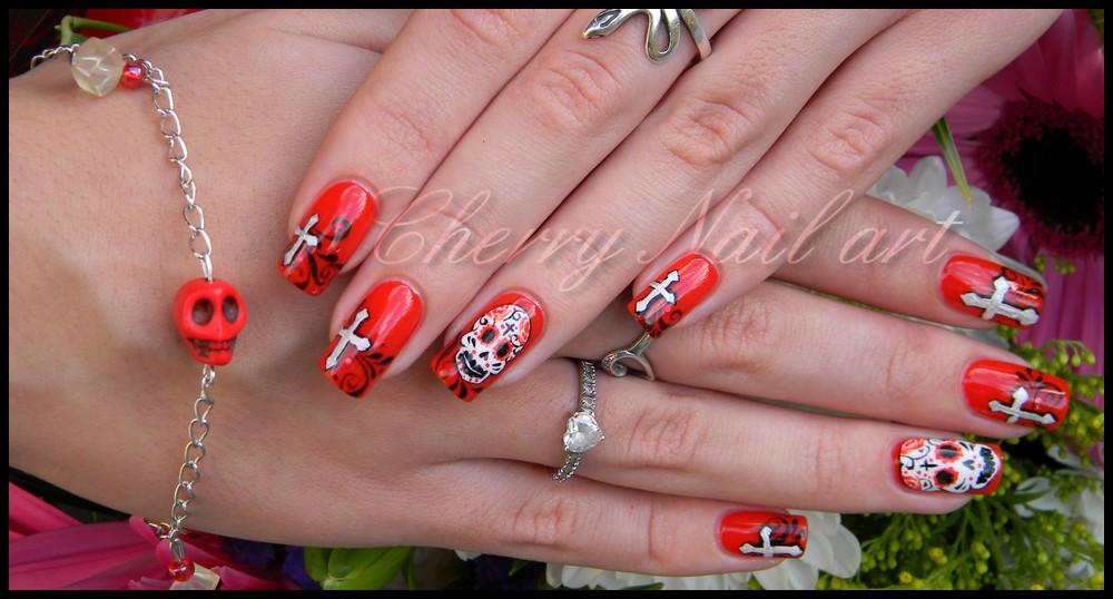 Nail art el dia de los muertos by cherrynailart on DeviantArt