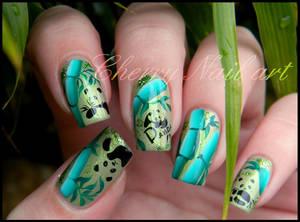 Nail art panda et bambou one stroke