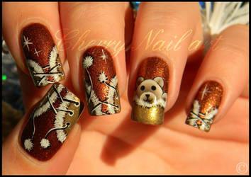 Nail art corset fourrure et nounours