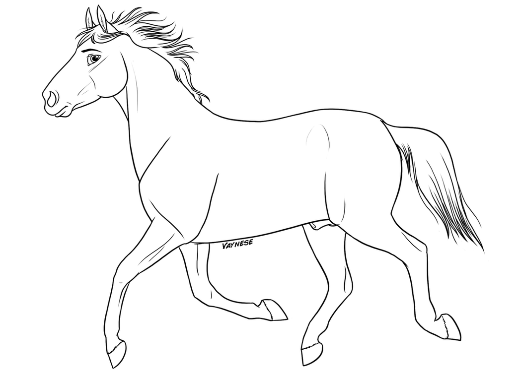 Walking Horse Outline: Free Horse Lineart By Vaynese On DeviantArt