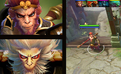 Dota2 Monkey king hero model and in game icons by DimensionalDrift