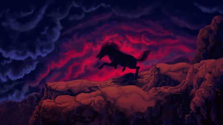Stallion Galloping at twilight