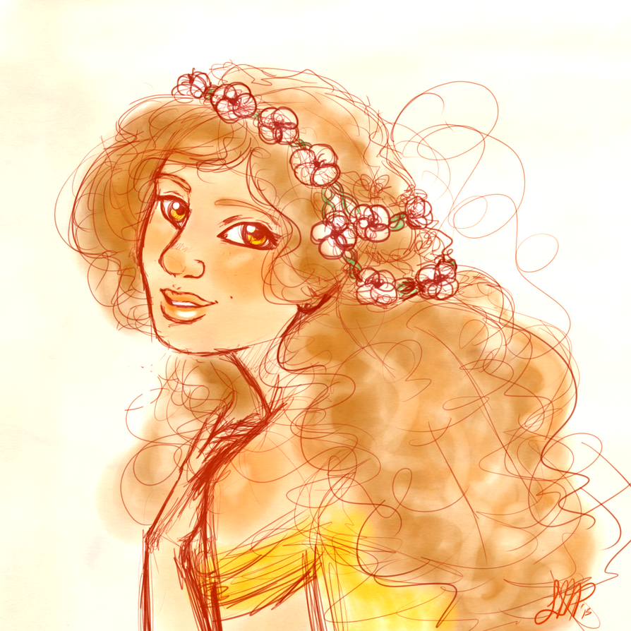 With a garland of flowers in her hair by MissPomp
