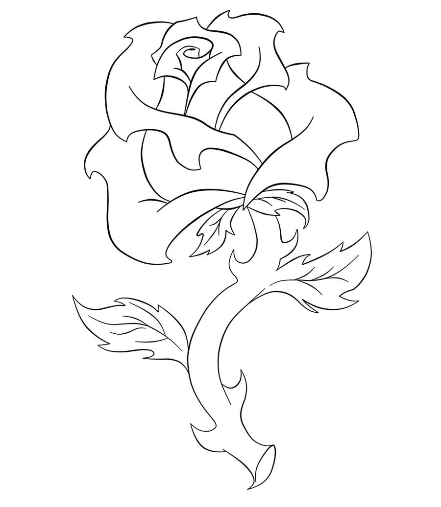 Line Art Rose Flower : Rose line art by hazeljohnson on deviantart