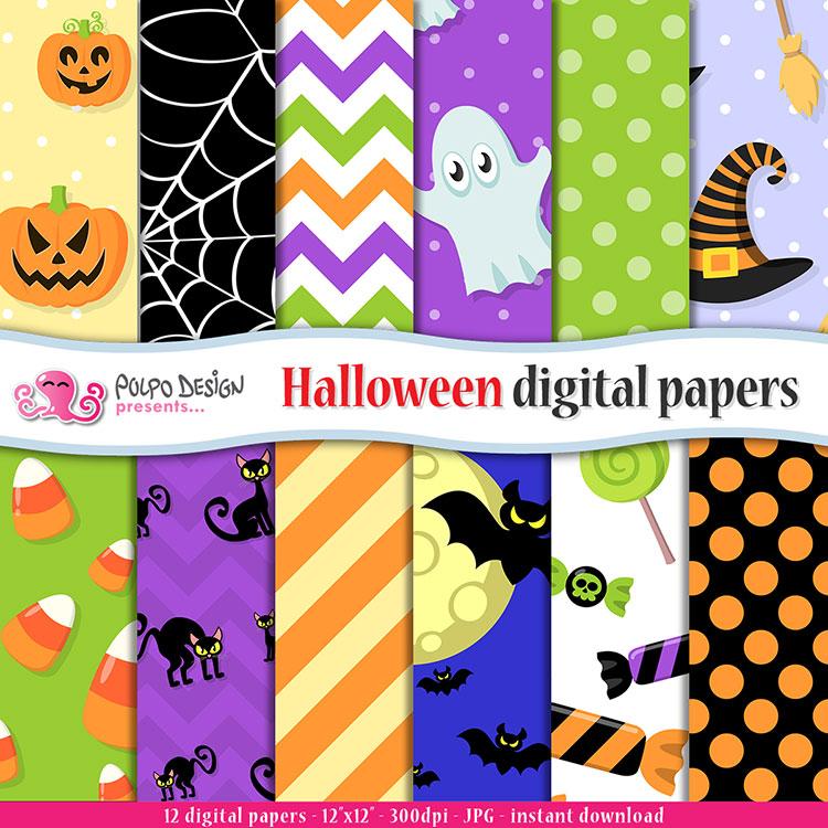 Happy Halloween Digital paper digi paper Spookies Halloween Digital Paper instant download halloween backgrounds Cute Spooky paper